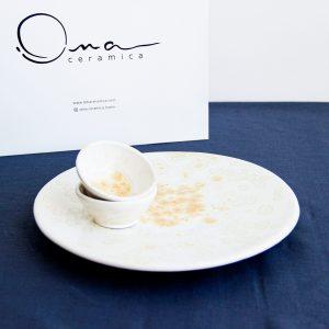 Набор сервировочная тарелка и соусники
